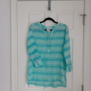 St. John's Bay aqua & white striped tunic (M)